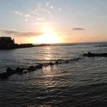 Закат солнца в порту Кейсарии