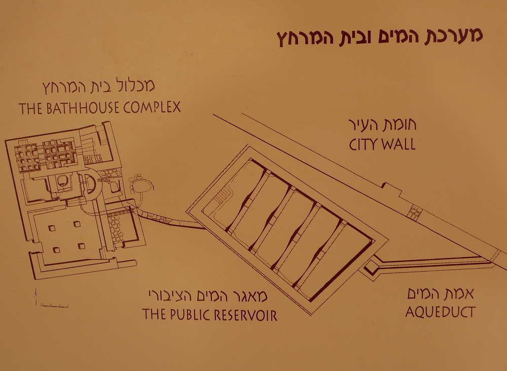 План центрального резервуара воды и набатейской бани Римского периода