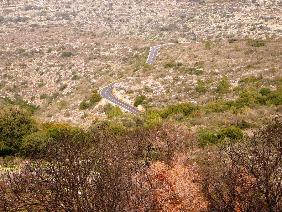 Петляющая дорога - подъем на Кармель