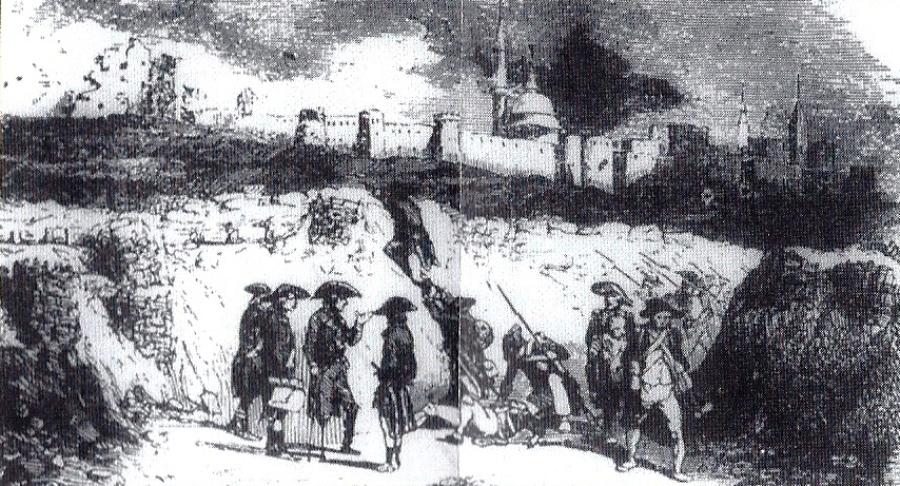 Французские солдаты, во главе с генералом Капрали, при осаде Акко